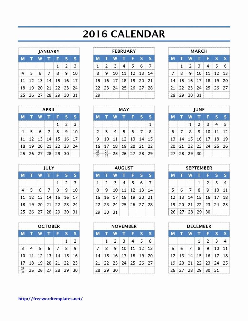 12 month calendar to print 2016