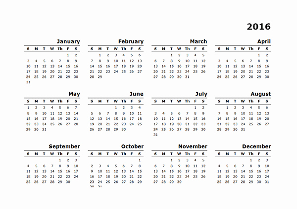 2016 12 Month Calendar Printable Best Of 2016 Yearly Calendar Template 10 Free Printable Templates