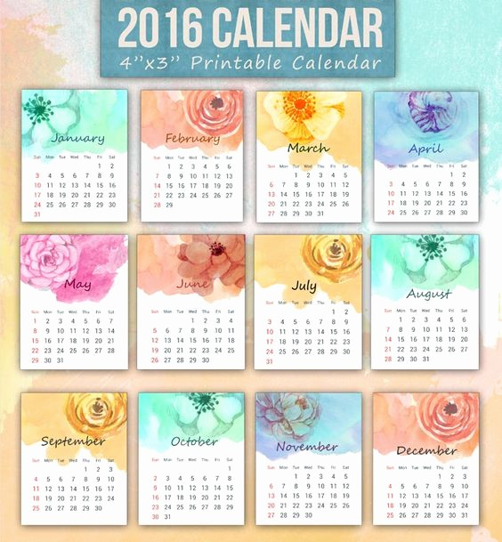 2016 12 Month Calendar Printable Best Of A Set Of Printable 12 Month Mini 2016 Calendar Featuring