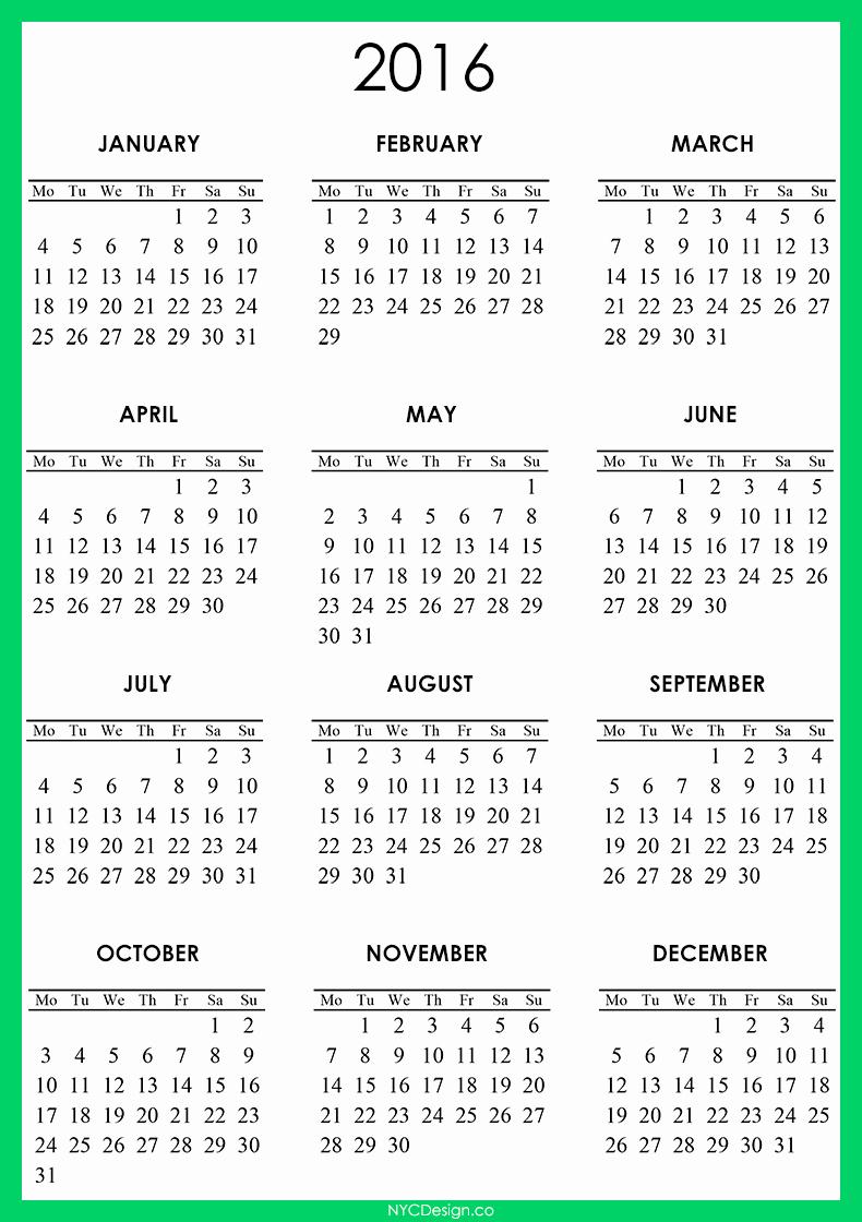 2016 12 Month Calendar Printable Best Of New York Web Design Studio New York Ny 2016 Calendar