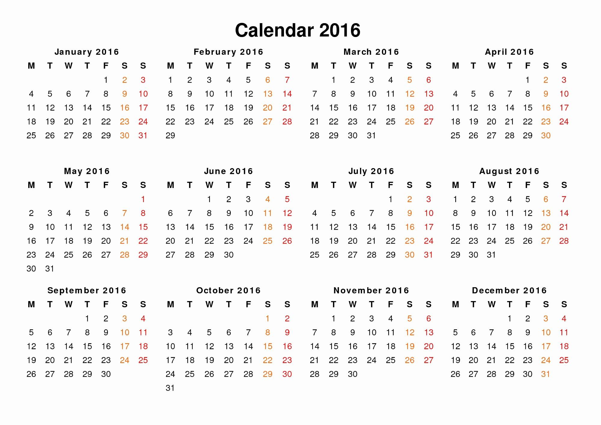 2016 12 Month Calendar Printable Elegant Yearly Calendar 2016 Printable