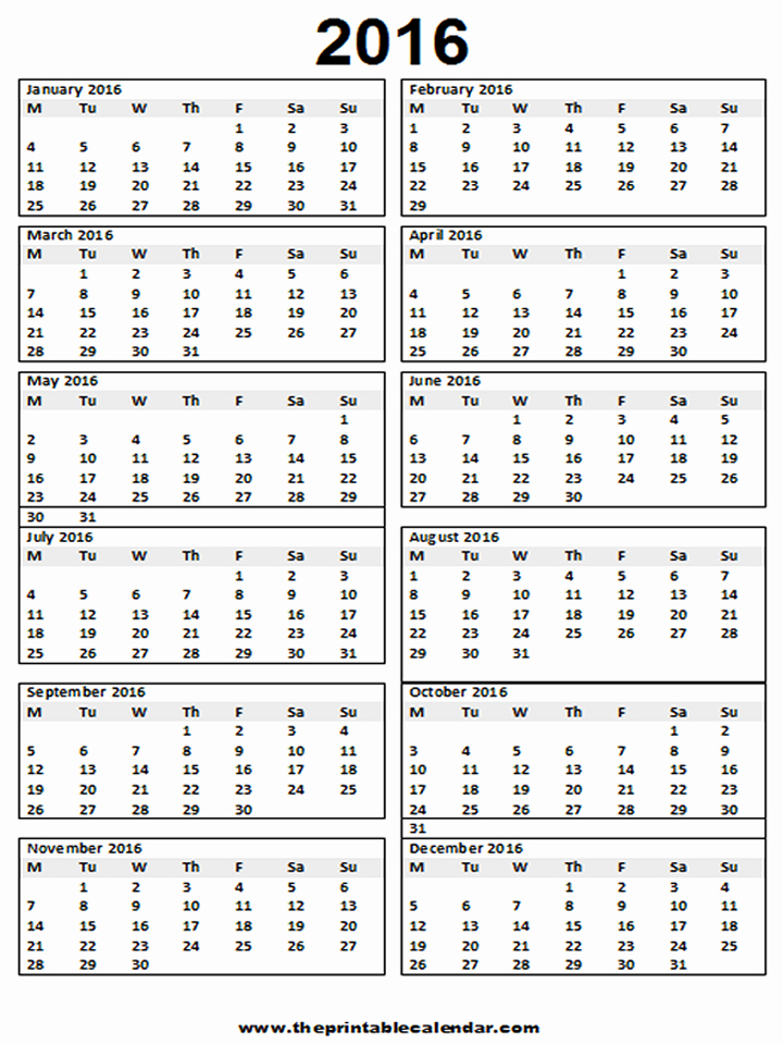 2016 12 Month Calendar Printable Fresh Calendar 2016 Printable 12 Month Calendar On One Page