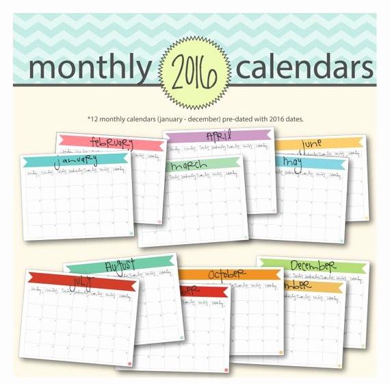 2016 12 Month Calendar Printable Fresh Printable 2016 Monthly Calendar 12 Printable by