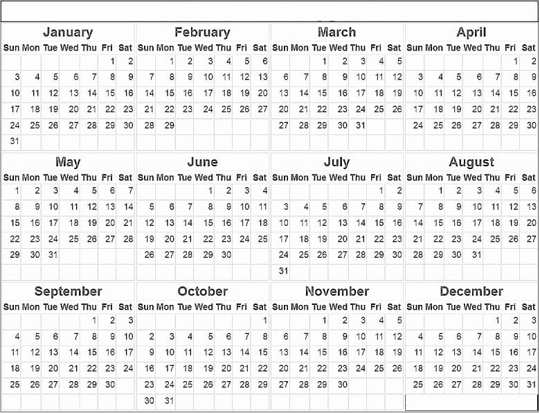 2016 12 Month Calendar Printable Inspirational 12 Month Calendar 2016 Printable Free Calendar Template