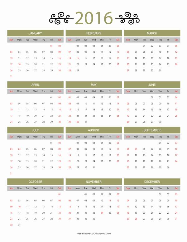 2016 12 Month Calendar Printable Inspirational 12 Month Colorful Calendar for 2016 Free Printable Calendars