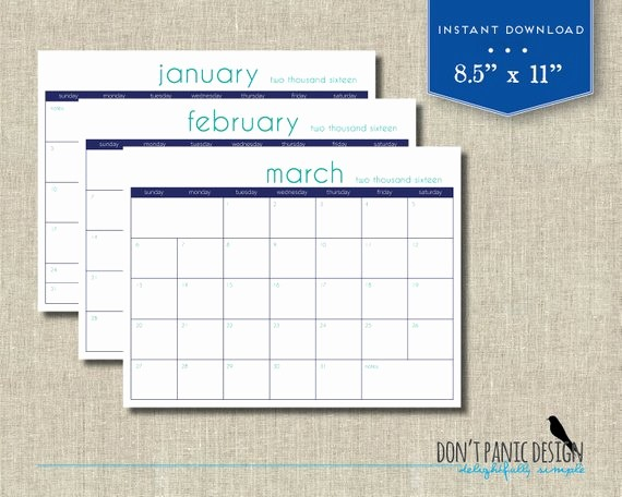 2016 12 Month Calendar Printable Inspirational 2016 Printable Wall Calendar Modern 12 Month by