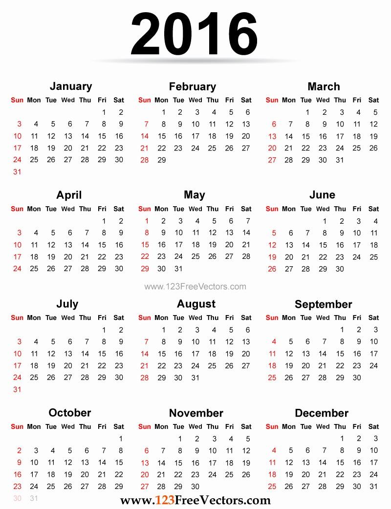 2016 12 Month Calendar Printable Inspirational Yearly Calendar 2016 to Print Hd