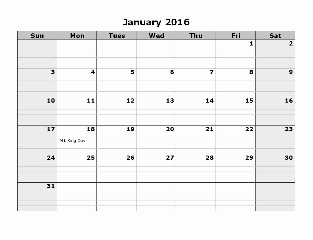 2016 12 Month Calendar Printable Lovely 2016 Monthly Calendar Template 08 Free Printable Templates