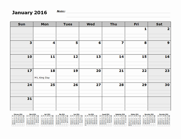 2016 12 Month Calendar Printable Lovely 2016 Monthly Calendar Template with 12 Months References