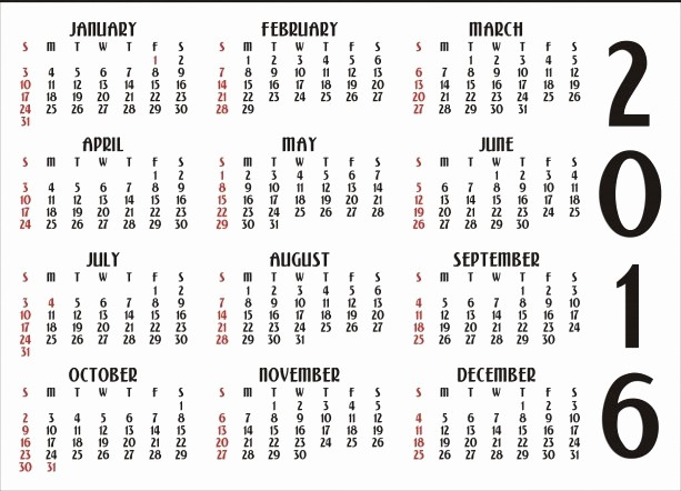 2016 12 Month Calendar Printable Lovely Free Printable 2016 Calendar with Holidays
