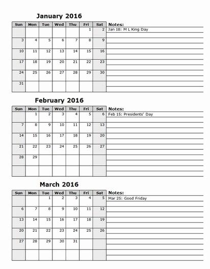 2016 12 Month Calendar Printable Luxury 12 Month Printable Calendar 2016