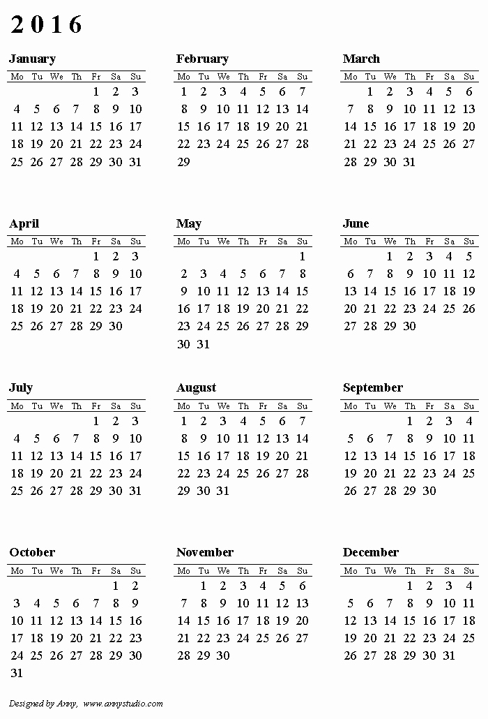 2016 12 Month Calendar Printable Luxury Free Printable Calendars and Planners 2019 2020 2021