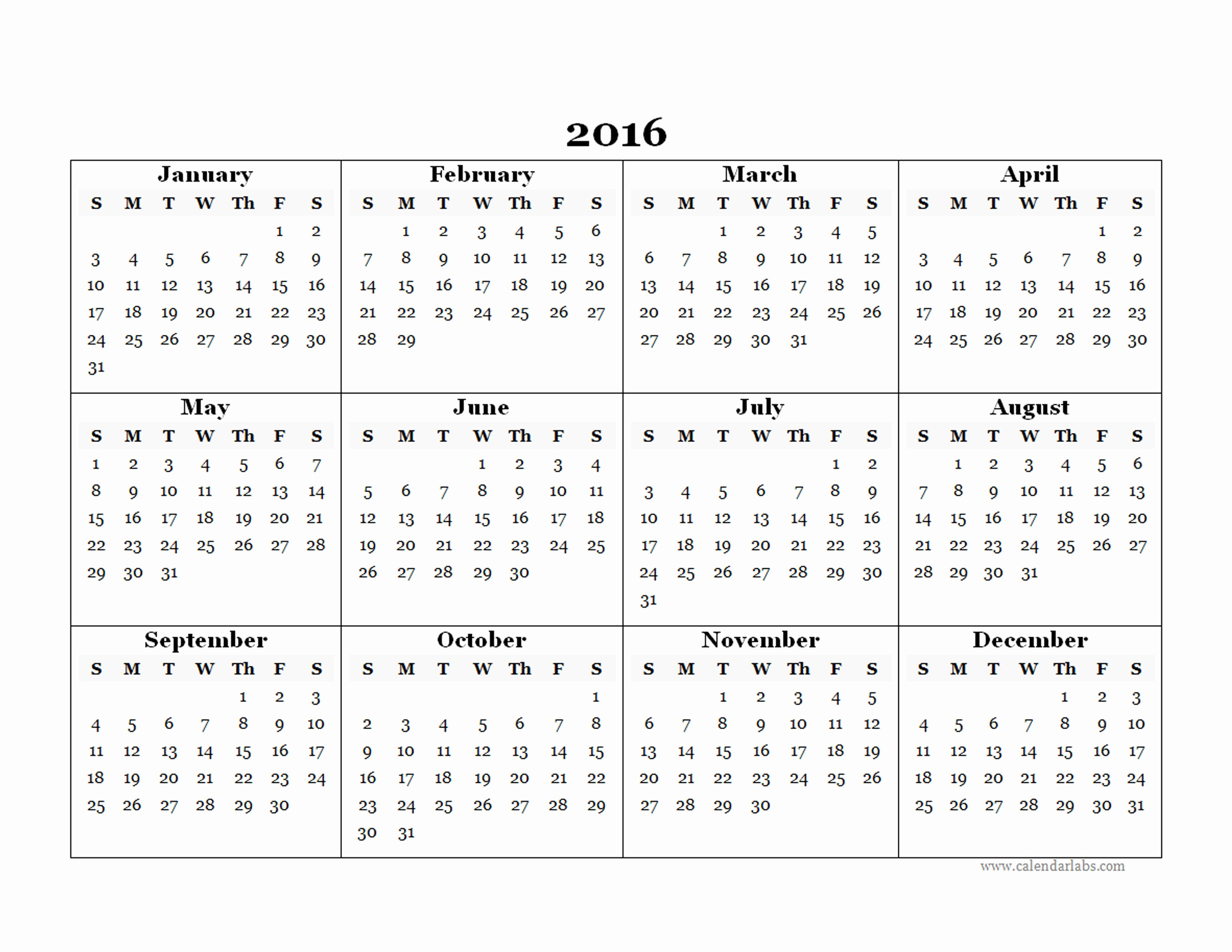 2016 12 Month Calendar Printable Unique 2016 Yearly Calendar Template 07 Free Printable Templates