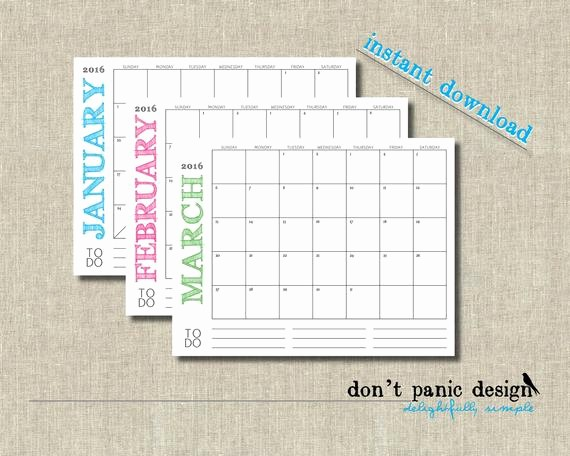 2016 12 Month Calendar Printable Unique Printable 12 Month Calendar 2015 2016 11 by