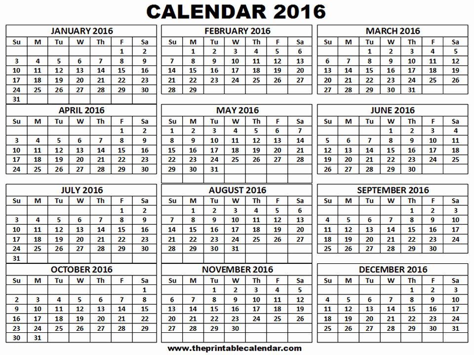 2016 12 Month Calendar Printable Unique Printable 2016 Calendar One Page 12 Month Calendar