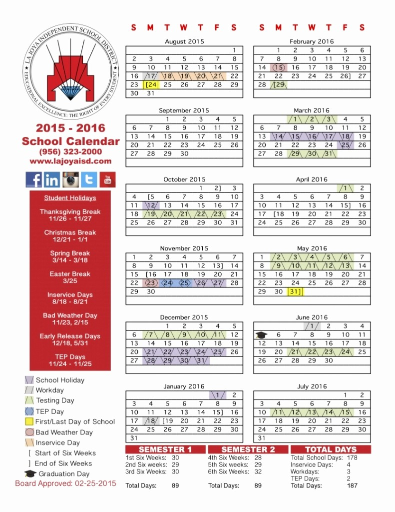2016 2017 School Calendar Template Beautiful Al isd School Calendar 2016 2017 Free Calendar Template