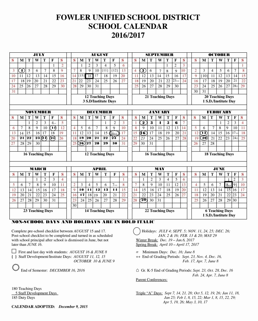 2016 2017 School Calendar Template Beautiful Ft Zumwalt School Calendar 2016 2017 Free Calendar Template