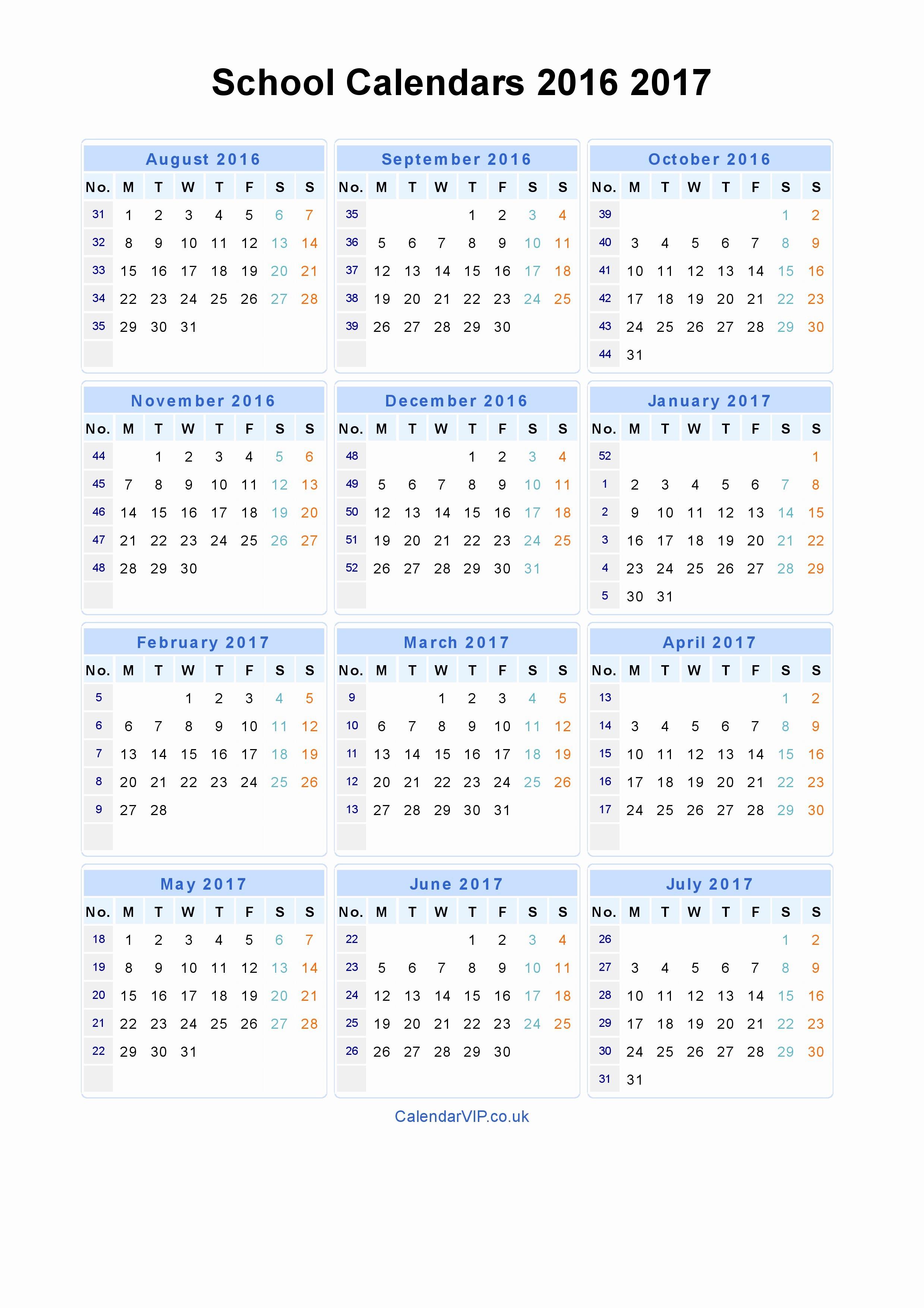 2016 2017 School Calendar Template Beautiful School Calendars 2016 2017 Calendar From August 2016 to