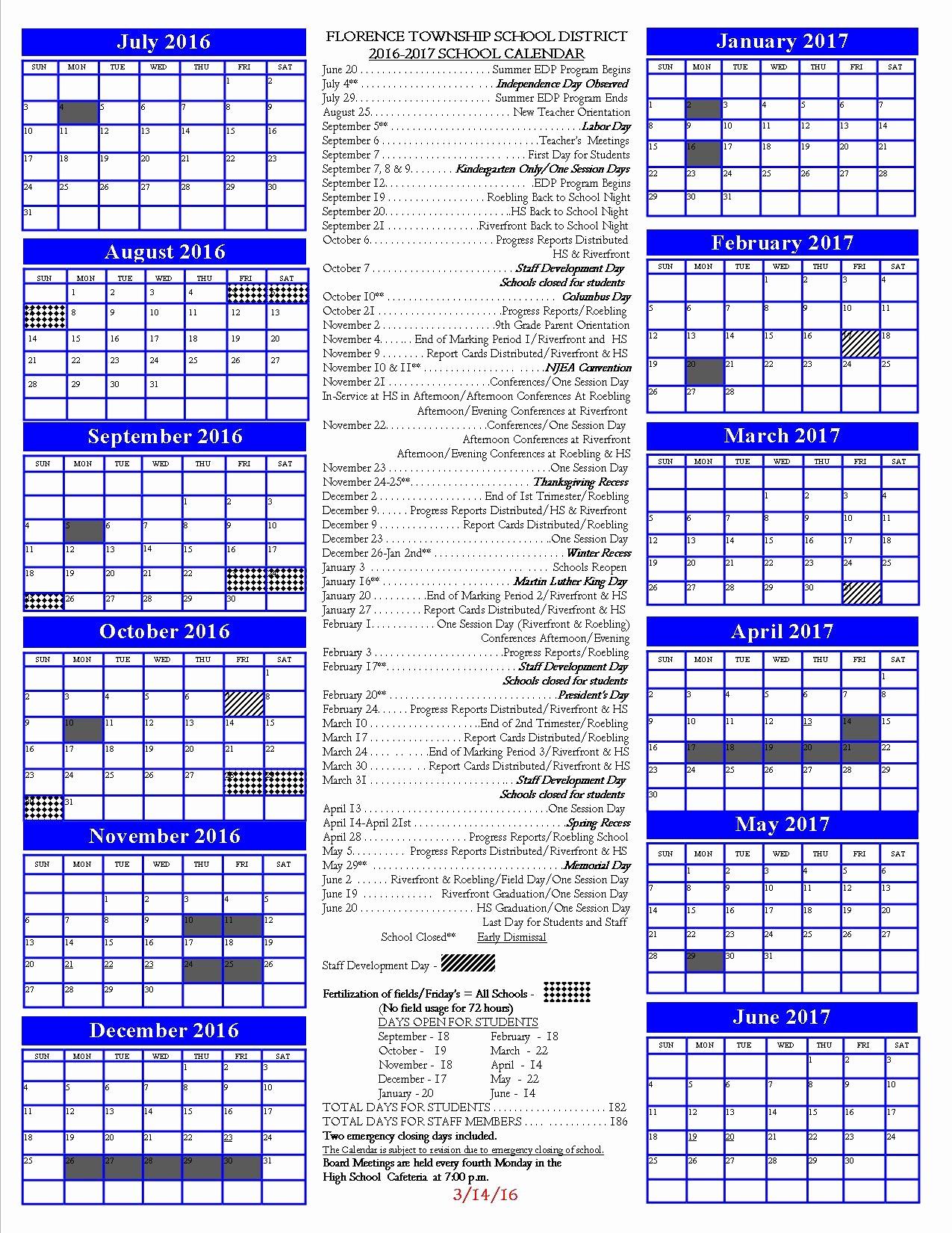 2016 2017 School Calendar Template Best Of 2016 2017 School Calendar Pcmac 2016 2017 School Calendar