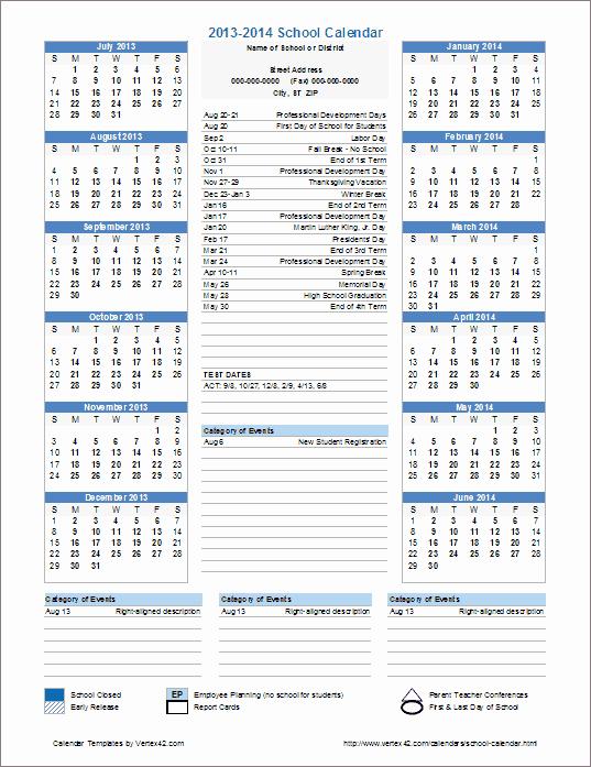 2016 2017 School Calendar Template Elegant School Calendar Template 2016 2017 School Year Calendar