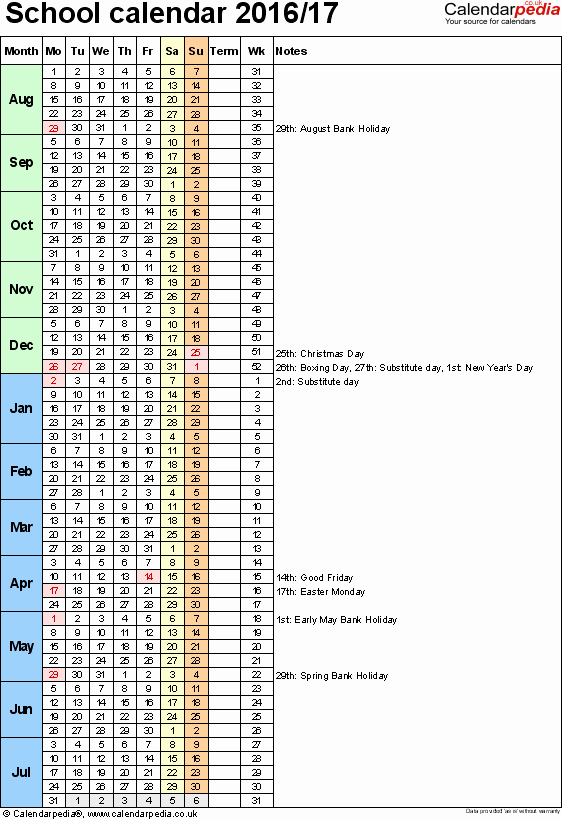 2016 2017 School Calendar Template Elegant School Calendars 2016 2017 as Free Printable Excel Templates