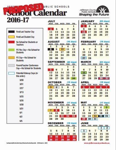 2016 2017 School Calendar Template Fresh 2016 2017 Jefferson County School Calendar Louisville Ky
