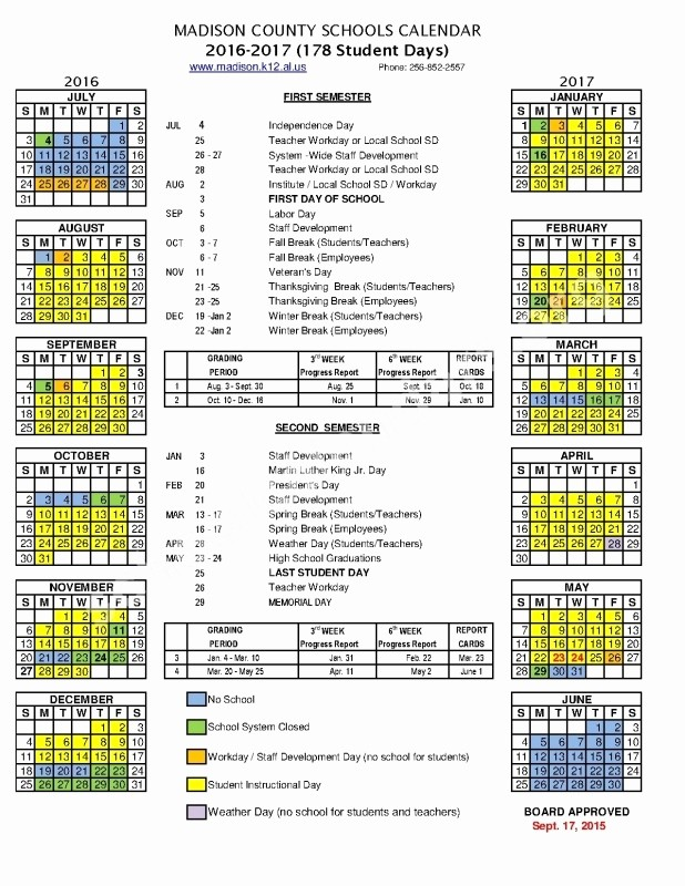2016 2017 School Calendar Template Fresh Middle School Calendar 2016 2017 Free Calendar Template