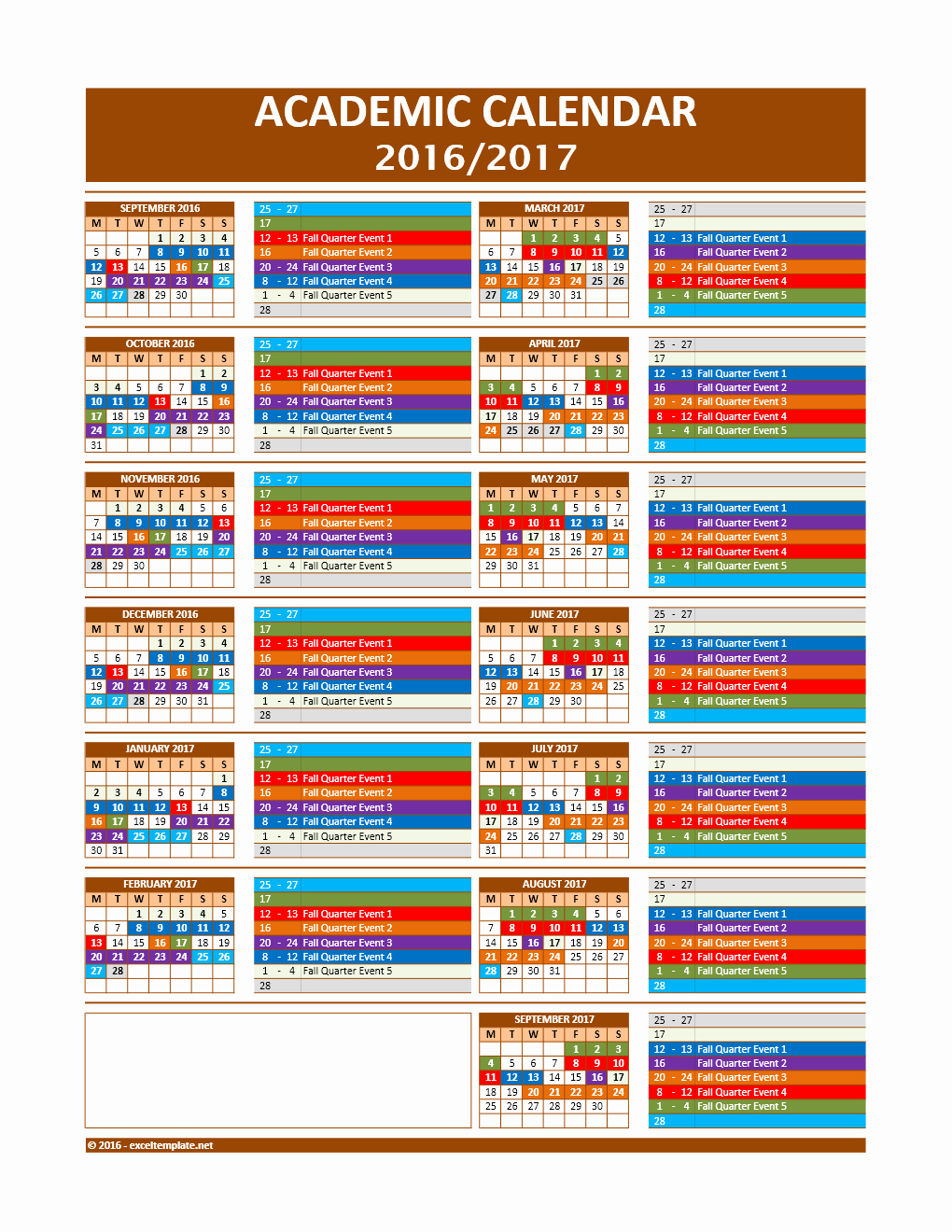 2016 2017 School Calendar Template Inspirational 2017 2018 and 2016 2017 School Calendar Templates