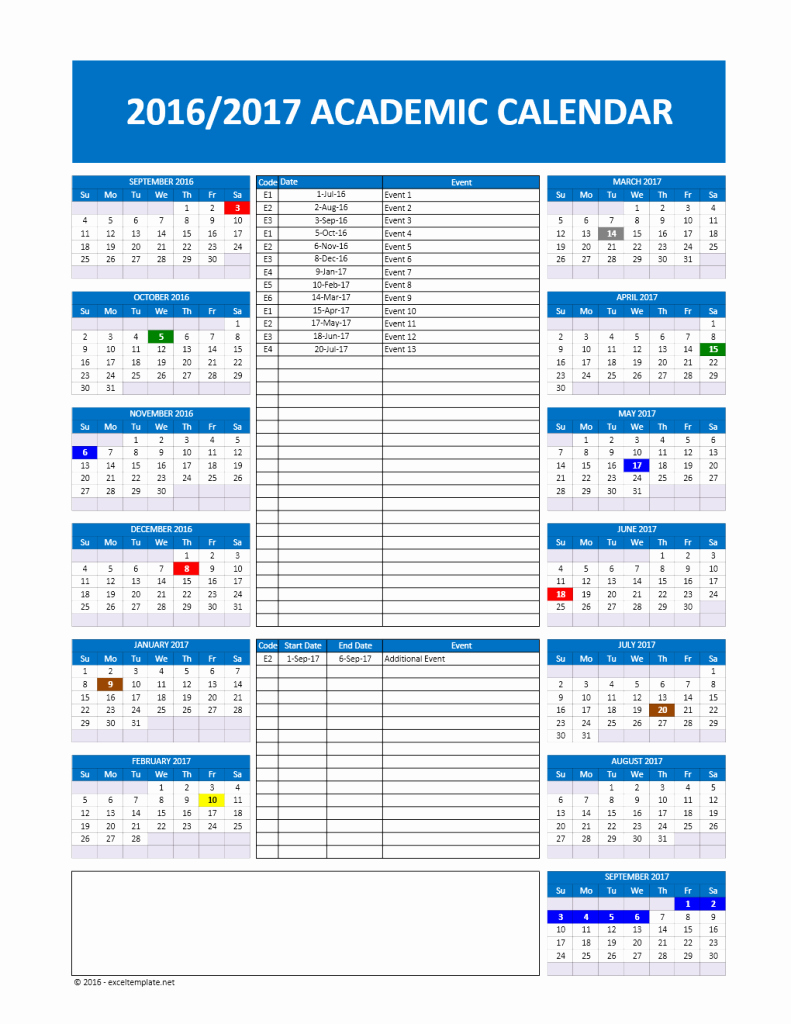 2016 2017 School Calendar Template Lovely 2017 2018 and 2016 2017 School Calendar Templates