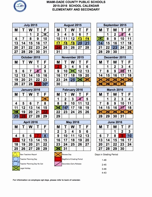 2016 2017 School Calendar Template Lovely Miami Dade School Calendar 2016 2017 Free Calendar Template
