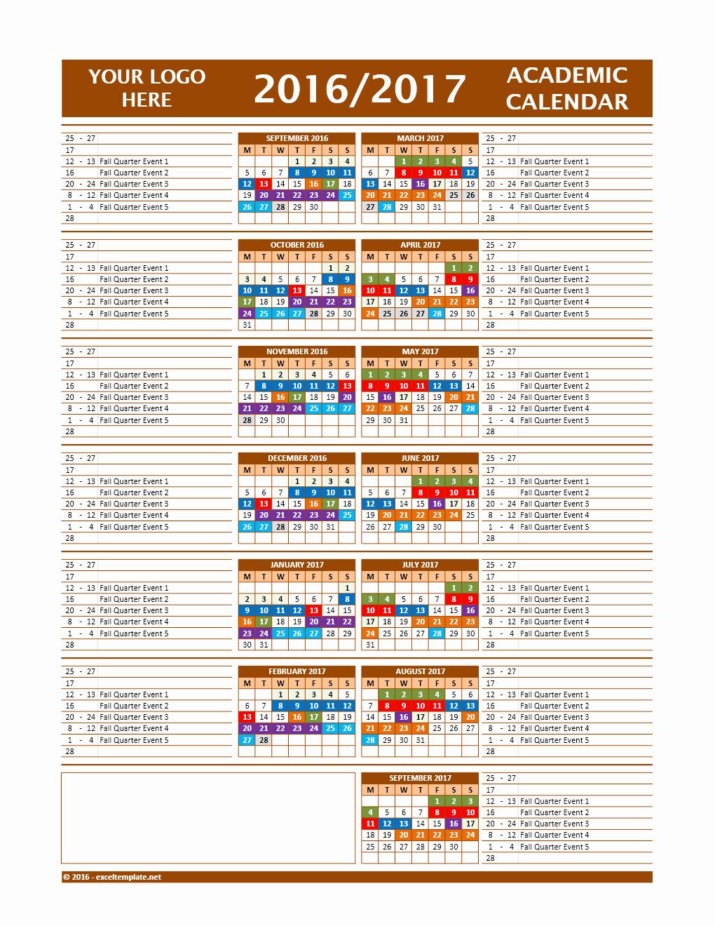2016 2017 School Calendar Template Luxury 2017 2018 and 2016 2017 School Calendar Templates