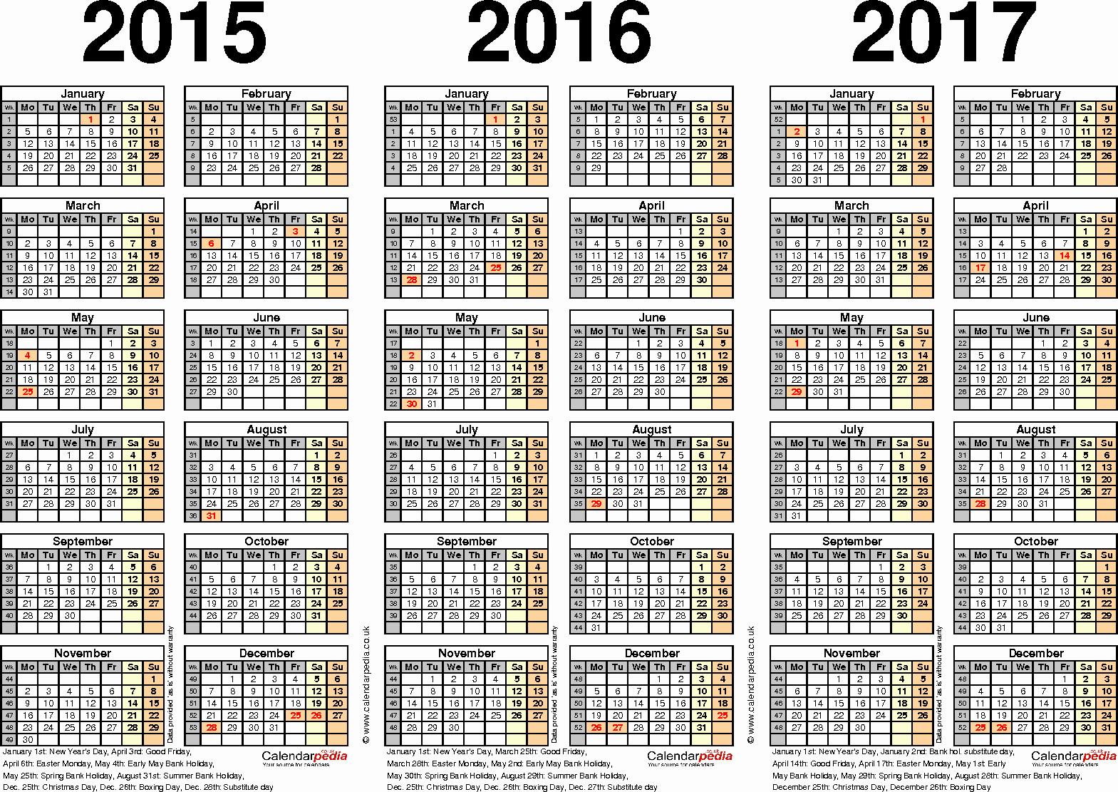2016 2017 School Calendar Template Luxury Three Year Calendars for 2015 2016 & 2017 Uk for Pdf