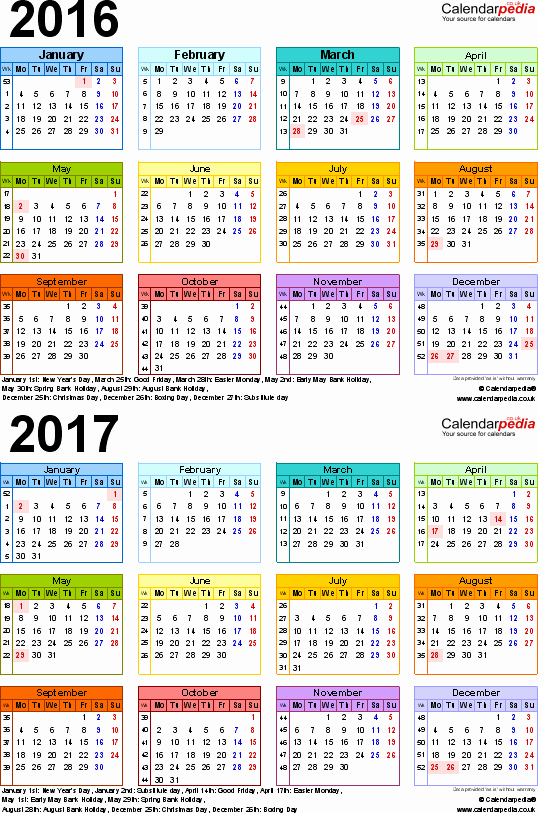2016 2017 School Calendar Template Luxury Two Year Calendars for 2016 & 2017 Uk for Pdf