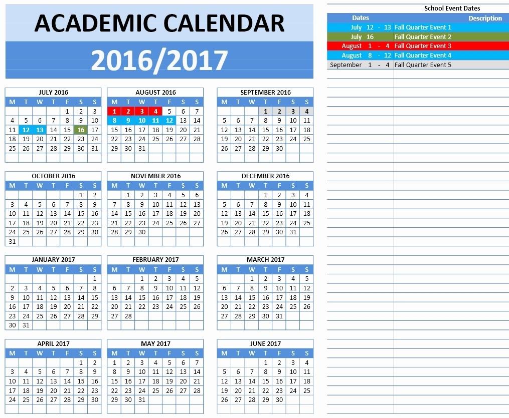 2016 2017 School Calendar Template New 2016 2017 School Calendar Templates