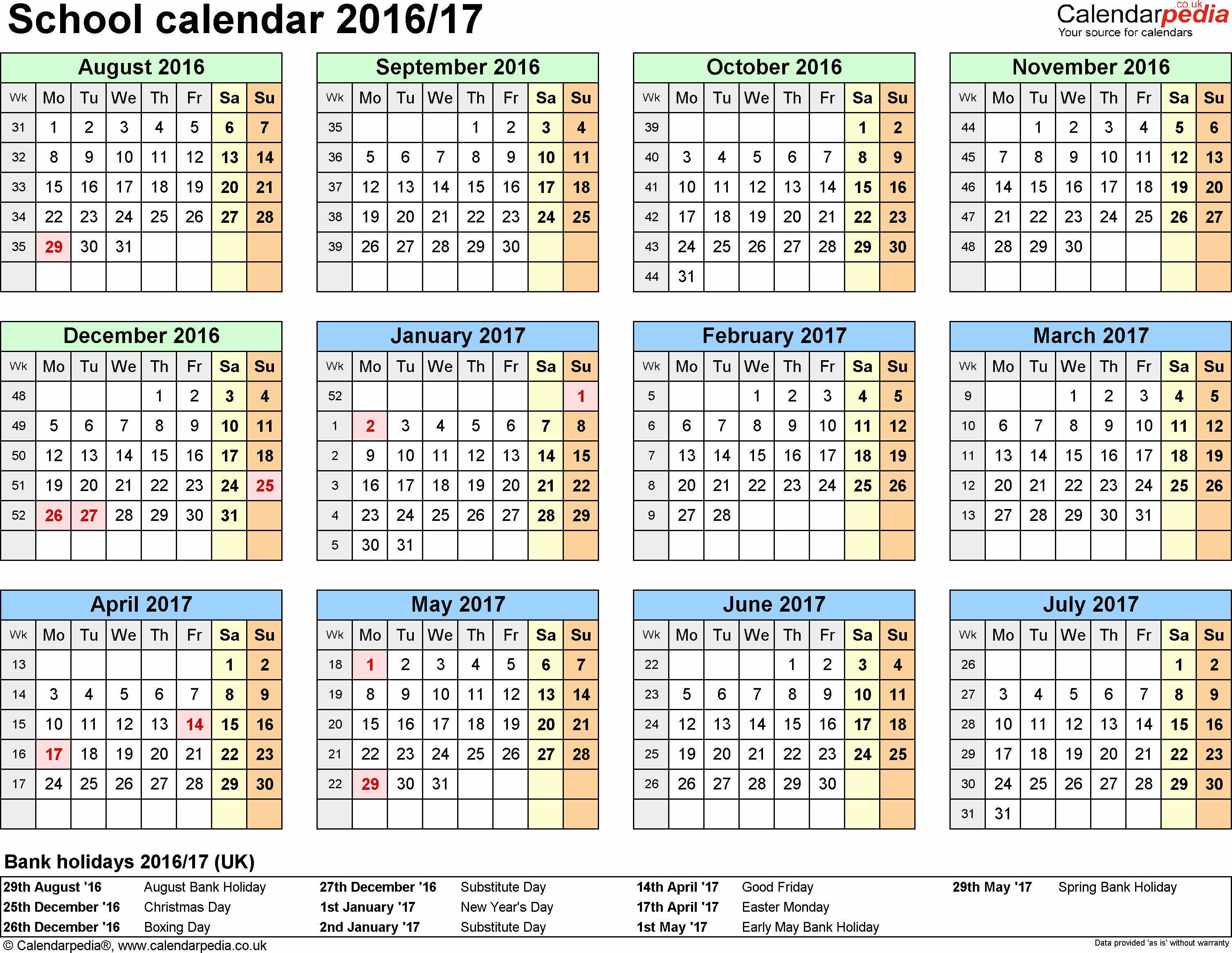 2016 2017 School Calendar Template New School Calendars 2016 2017 as Free Printable Word Templates