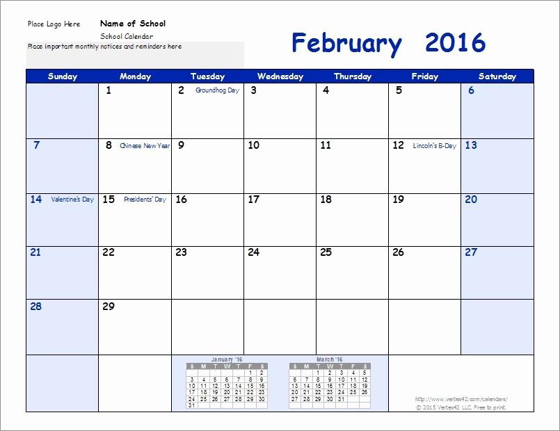 2016 2017 School Calendar Template Unique New Academic Calendar Template