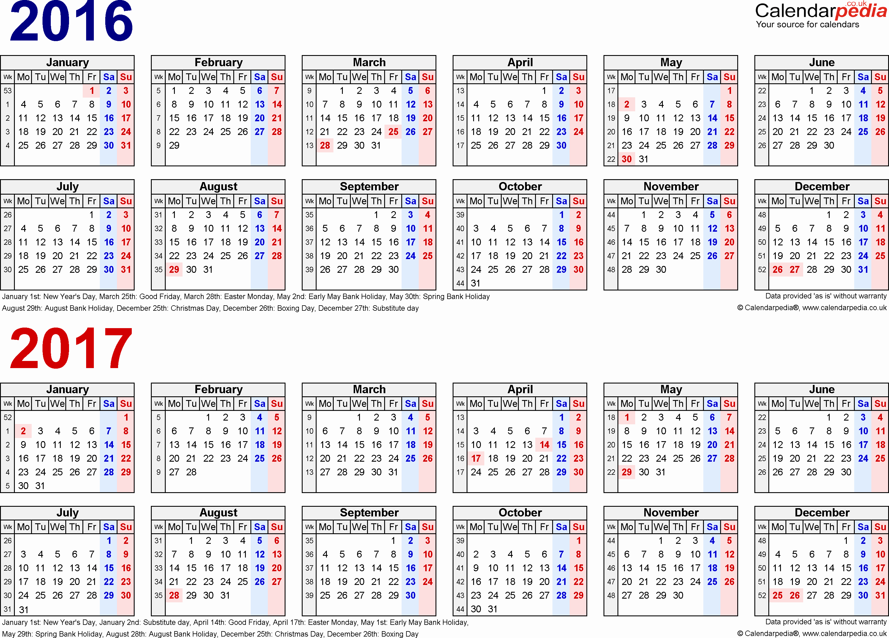 2016 2017 School Calendar Template Unique Two Year Calendars for 2016 & 2017 Uk for Pdf