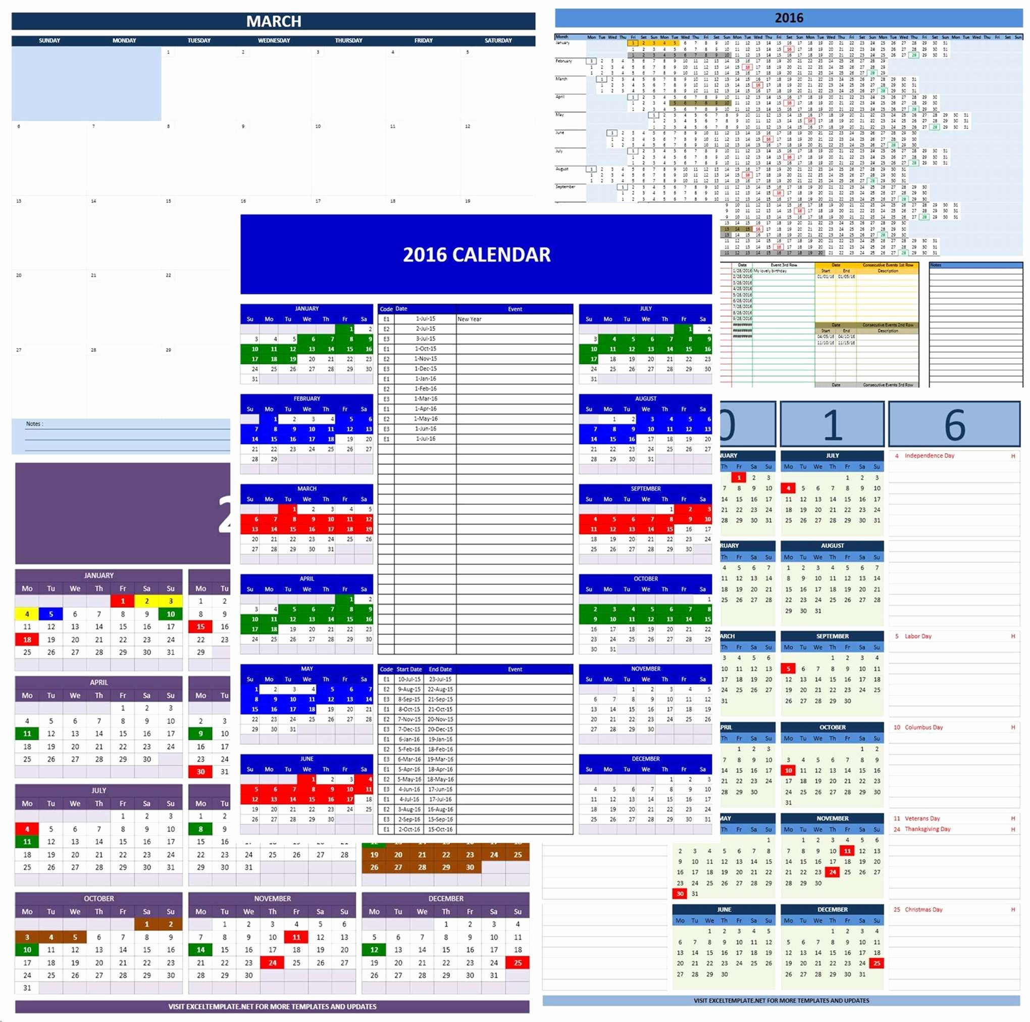 2016 Calendar Excel with Holidays Beautiful 2016 Calendars