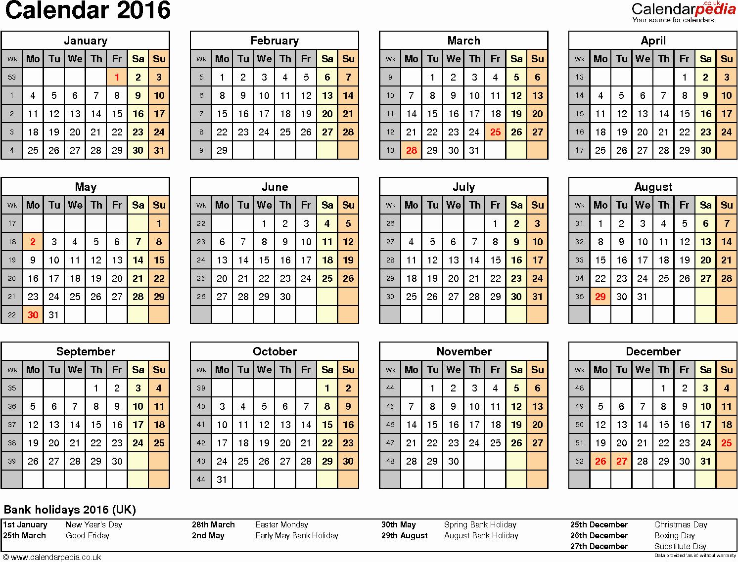 2016 Calendar Excel with Holidays Beautiful Calendar 2016 Uk 16 Free Printable Word Templates