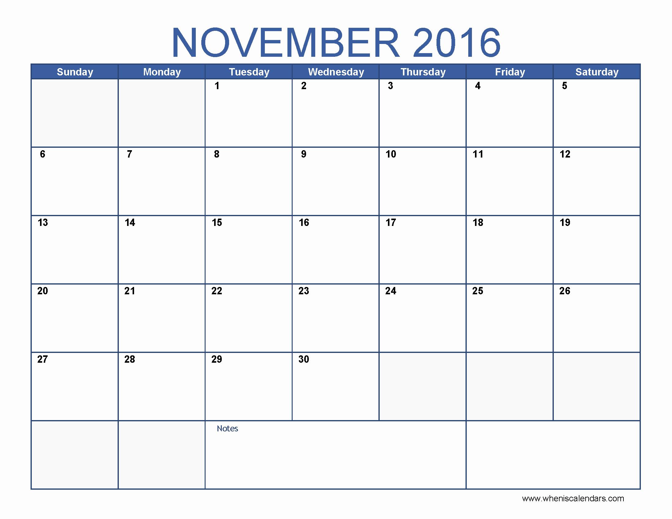 2016 Calendar Excel with Holidays Beautiful November 2016 Calendar Excel – Templates Free Printable