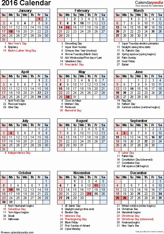 2016 Calendar Excel with Holidays Elegant Calendar 2016 with Holidays and Festival