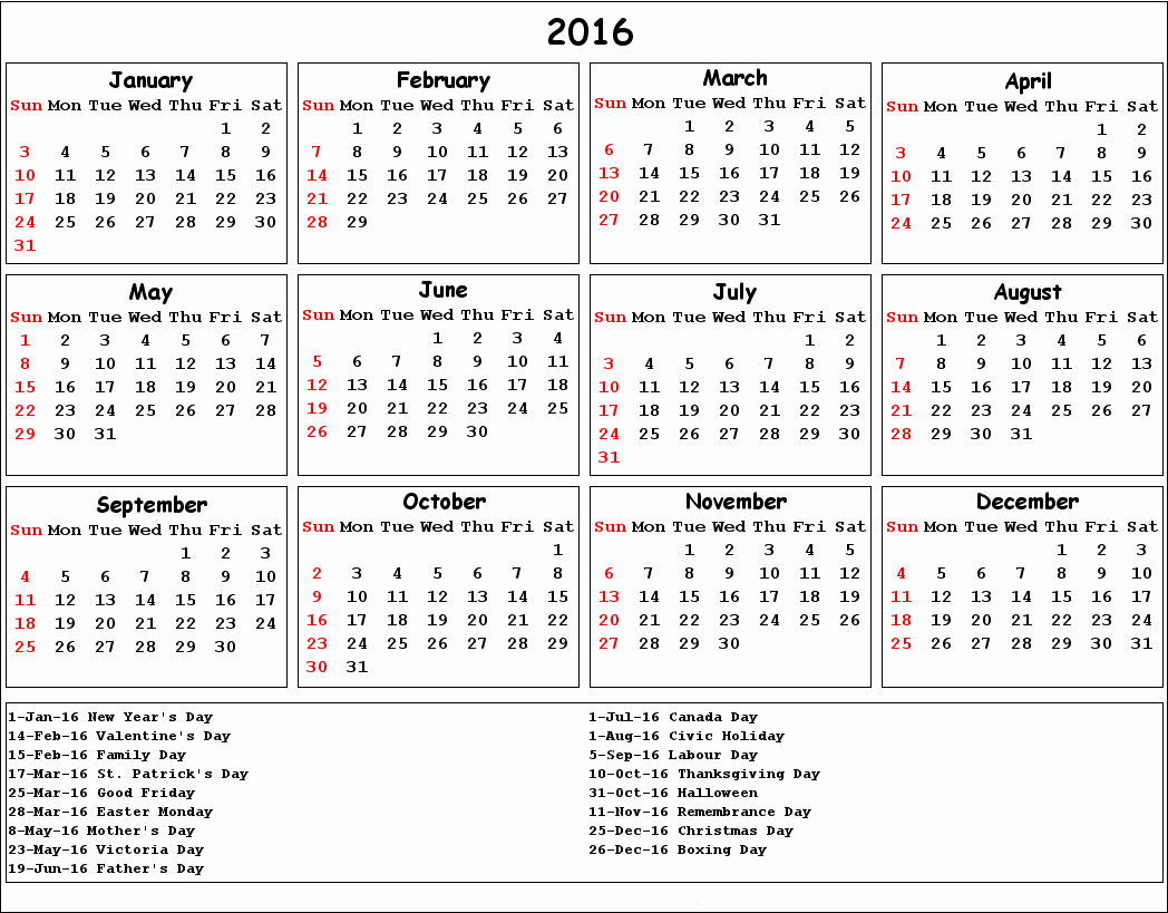 2016 Calendar Excel with Holidays Fresh 2016 Calendar with Holidays