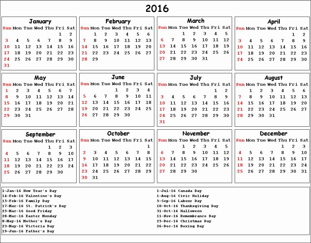 2016 Calendar Excel with Holidays Fresh 2016 Calendar with Holidays