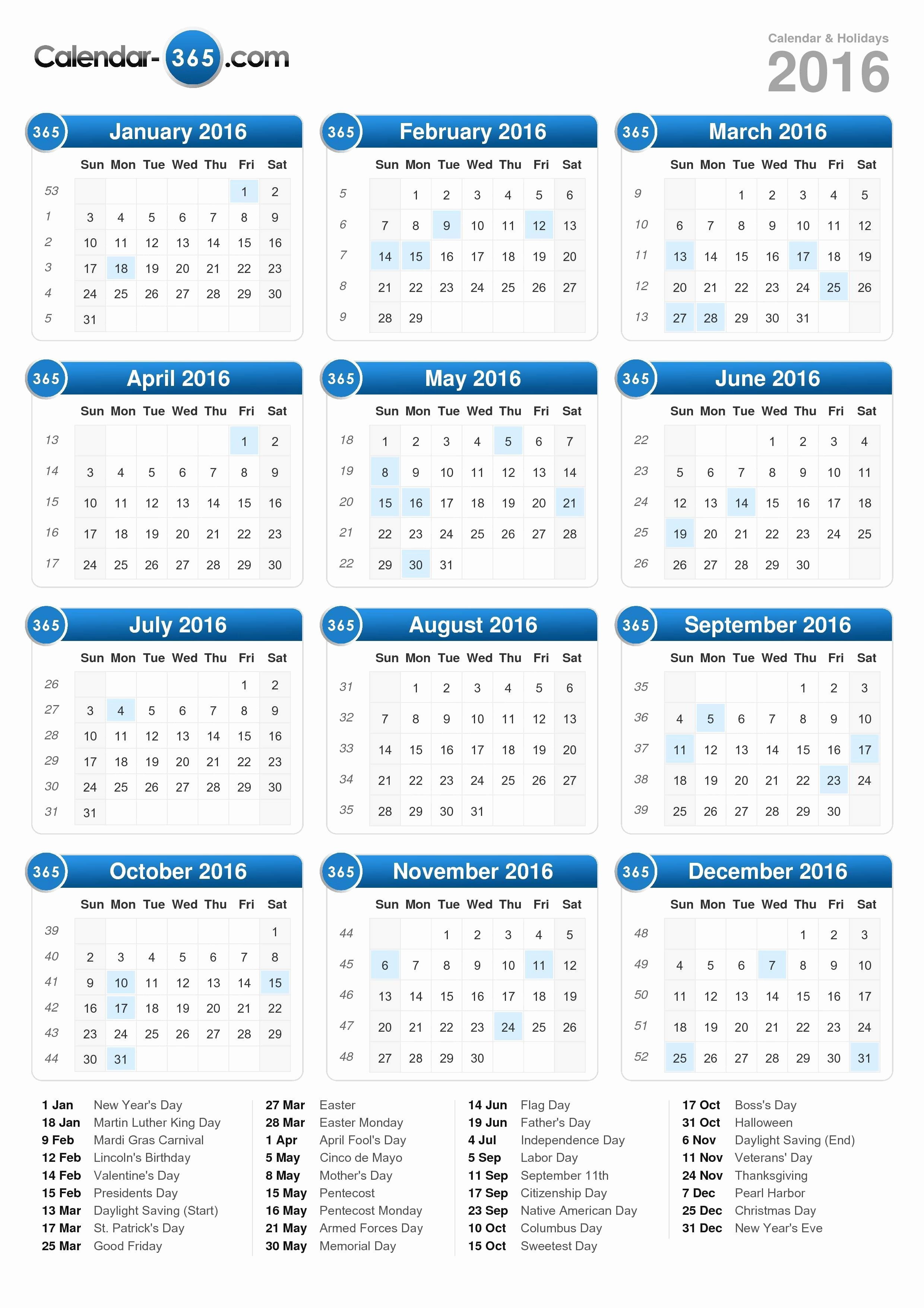 2016 Calendar Excel with Holidays Fresh Calendar Holidays 2016