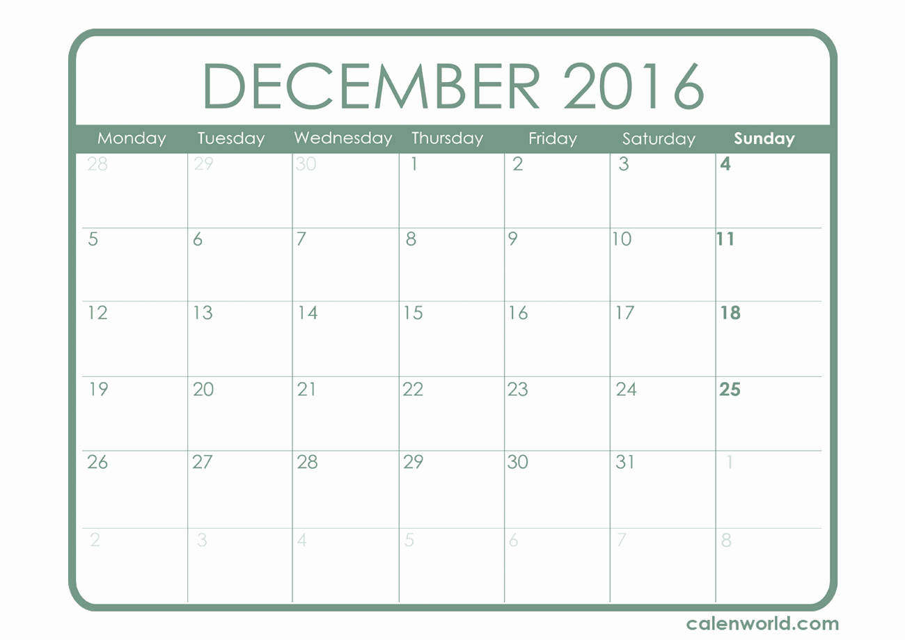 2016 Calendar Excel with Holidays Inspirational December 2016 Calendar Excel – 2017 Printable Calendar