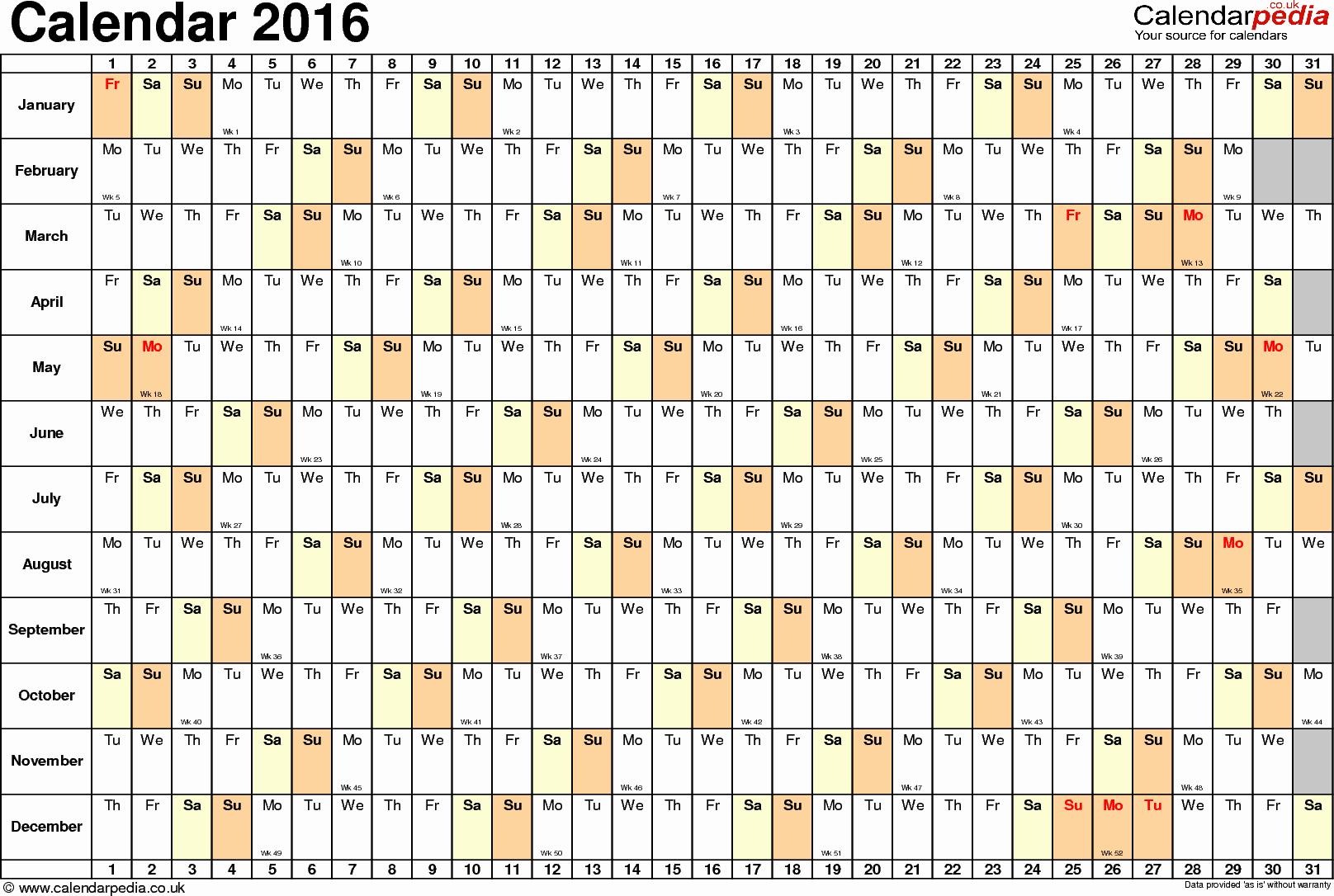 2016 Calendar Excel with Holidays Inspirational Excel Calendar 2016 Uk 16 Printable Templates Xlsx Free