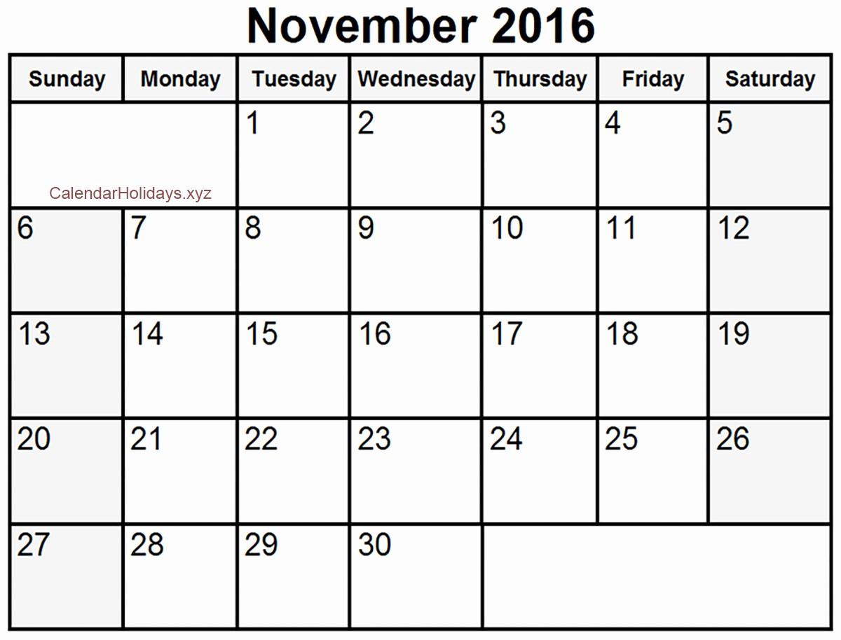 2016 Calendar Excel with Holidays Inspirational November 2016 Excel Calendar November2016 Excelcalendar