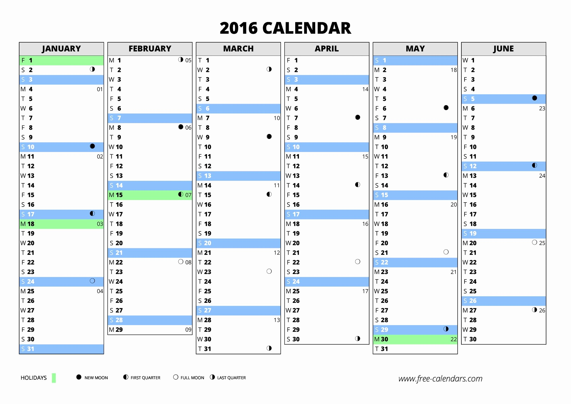 2016 Calendar Excel with Holidays Luxury 2016 Calendar ≡ Free Calendars