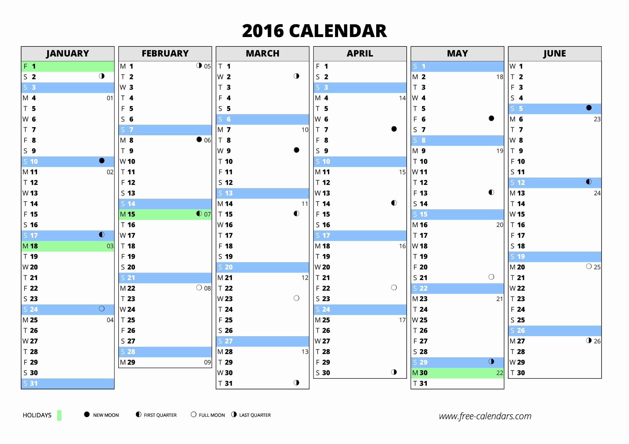 2016 Calendar Excel with Holidays Luxury 2016 Calendar ≡ Free Calendars