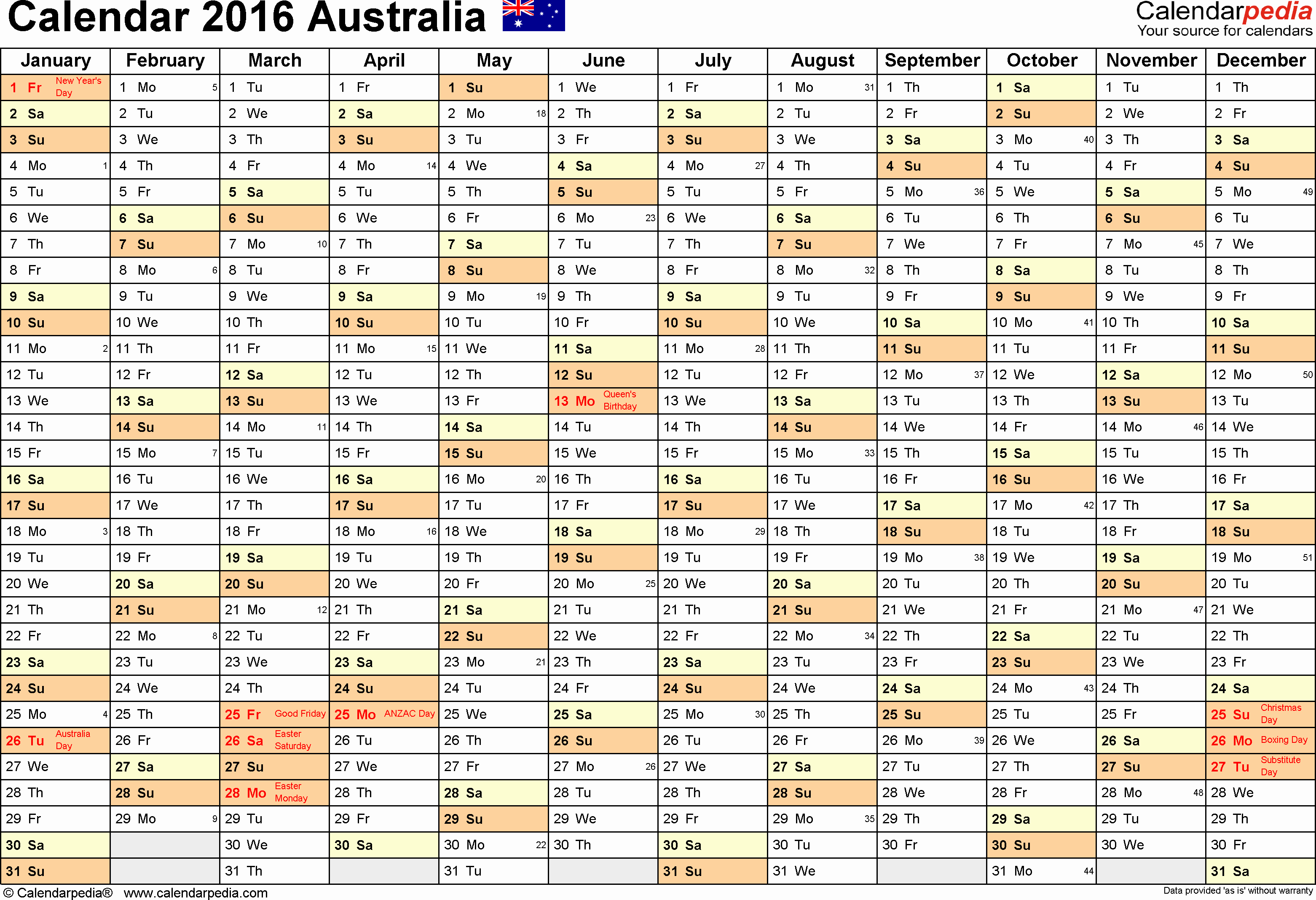 2016 Calendar Excel with Holidays Luxury Australia Calendar 2016 Free Printable Excel Templates